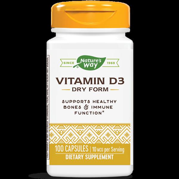 Витамин D3 (сух) 400 IU х 100 капс. Nature's Way - 1