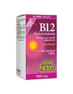 ВИТАМИН В12 (метилкобаламин) 1000 µg x 210 сублингвални таблетки Natural Factors - 1