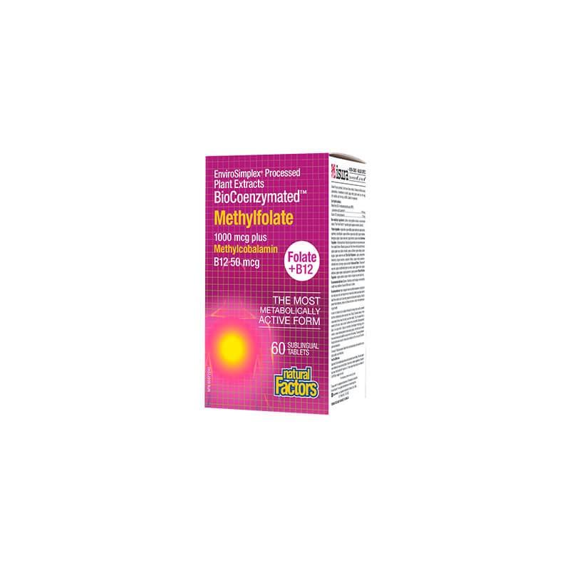 Фолиева киселина (метилфолат) 1000 mcg + Витамин В12 50 mcg Natural Factors - 1