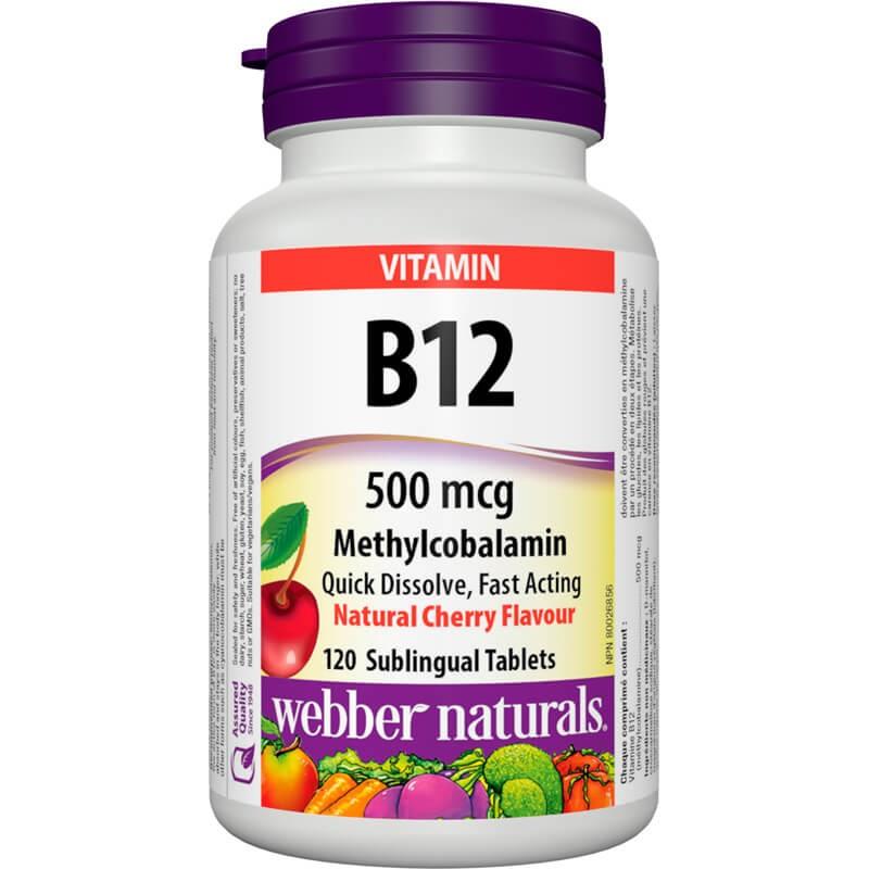 Витамин В12 (метилкобаламин) 500 mcg x 120 сублингвални таблетки Webber - 1