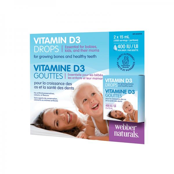 Витамин D3 капки 400 IU за деца, 2 х 15 ml Webber - 1