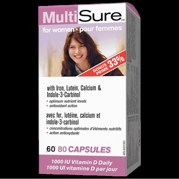 Multi Sure™/ Мултивитамини за жени (С желязо, лутеин, калций и индол-3-карбинол) x 80 капсули Webber - 1