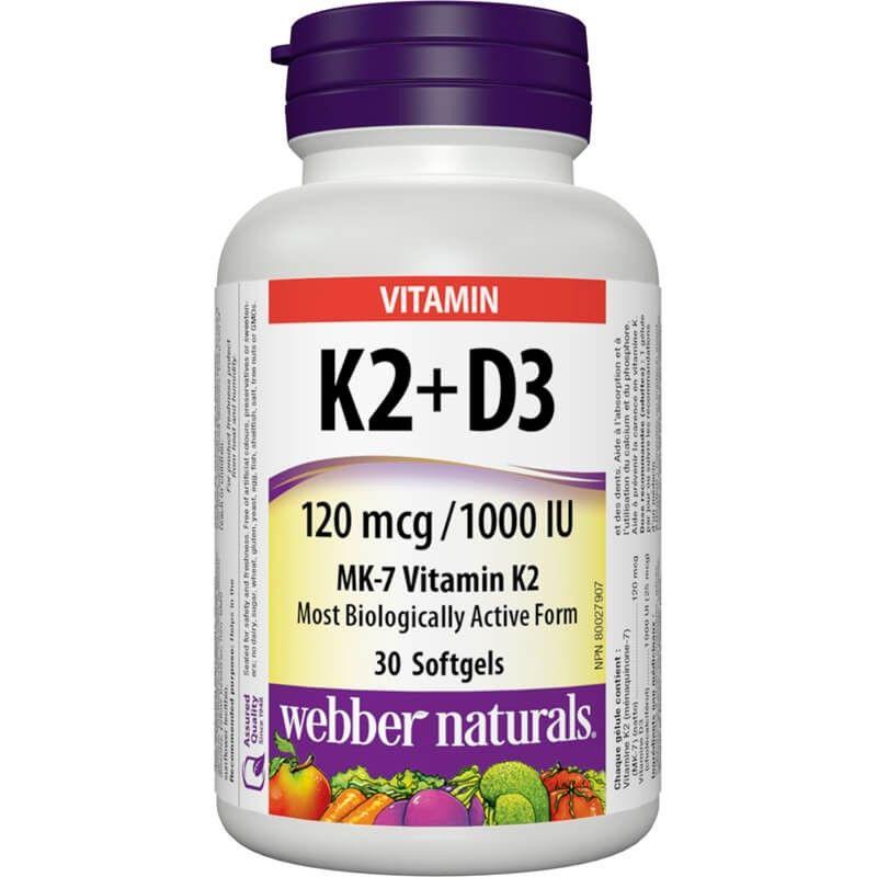 Витамин К2 120 µg + D3 1000 IU x 30 софтгел капсули Webber - 1