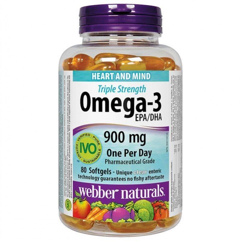 Omega-3 Triple Strenght (Тройна концентрация) x 80 софтгел капсули Webber - 1