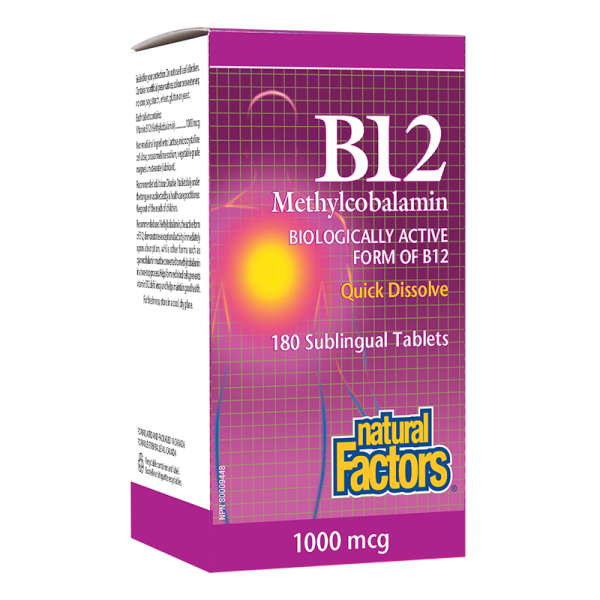 Витамин В12 1000 mcg x 180 сублингвални таблетки Natural Factors - 1