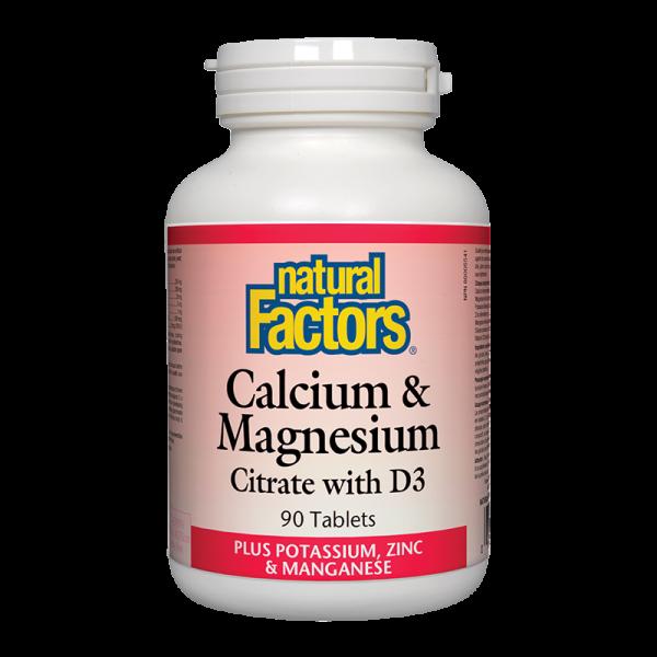Калций, магнезий цитрат, витамин D3 + калий и цинк 526 mg Natural Factors