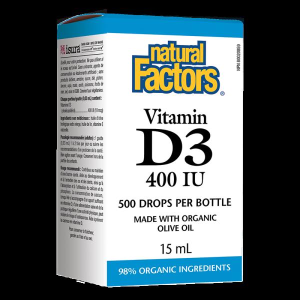 Витамин D3 400 IU /Капки/ Natural Factors