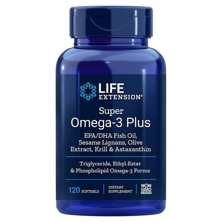 Super Omega-3 Plus / Омега-3 от рибено масло, Крил, Астаксантин, Лигнан от сусам и Маслина х 120 софтгел капсули