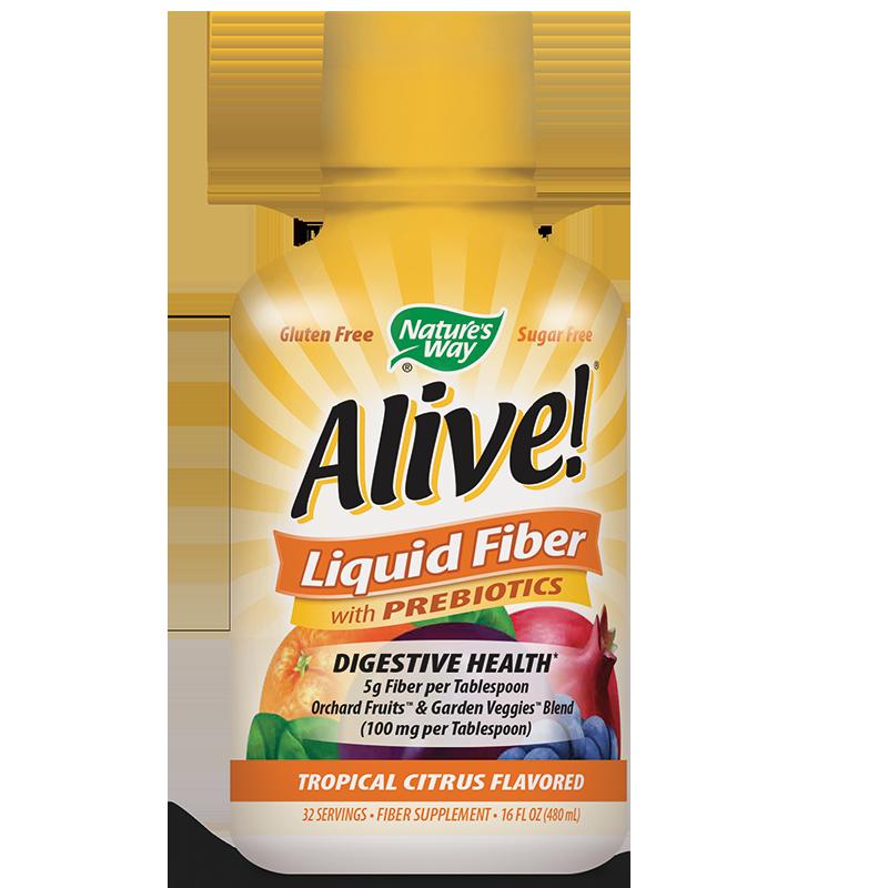 Alive! Liquid Fiber With Prebiotics/ Алайв! Течни фибри с пребиотици, 480 ml, 32 дози /С цитрусов вкус/