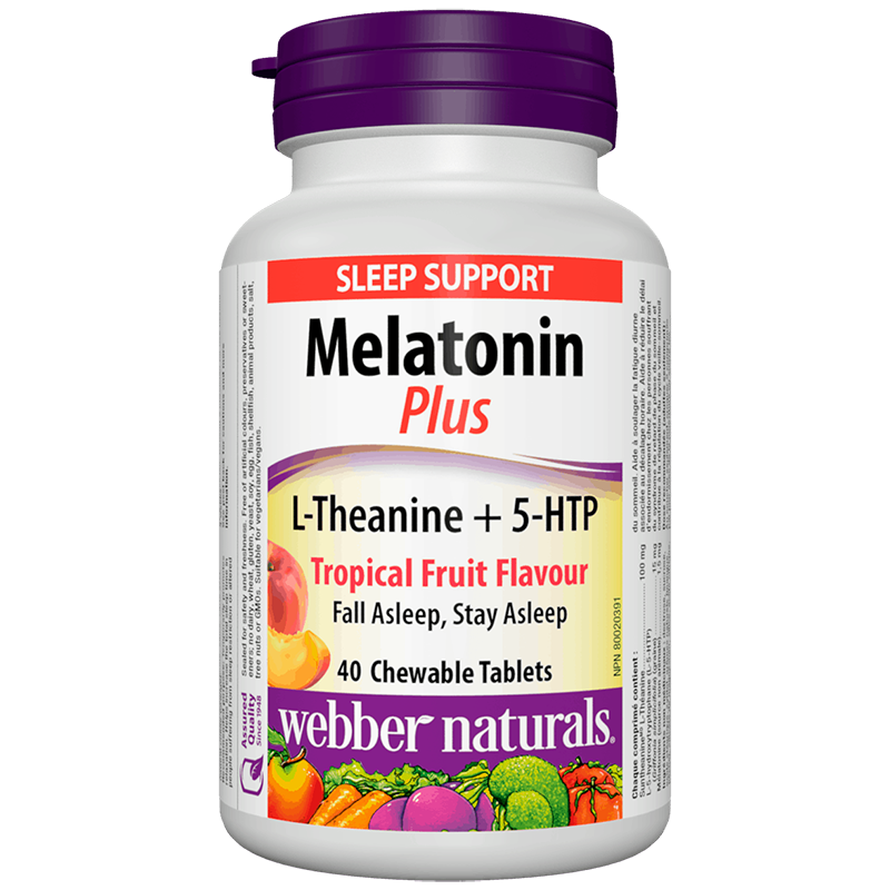 Melatonin Plus L-Theanine + 5-HTP/ Мелатонин + Л-Теанин и 5-HTP х 40 дъвчащи таблетки с вкус на тропически плодове